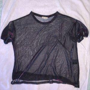 holographic black mesh top